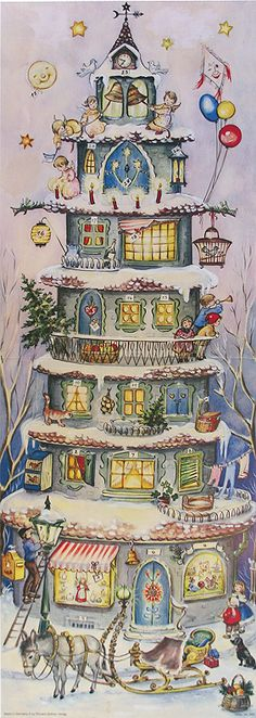 "Home for Christmas - Advent Calendar. 24"" x 8-1/2"". Made in Germany."