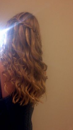 Waterfall braid & curly hair