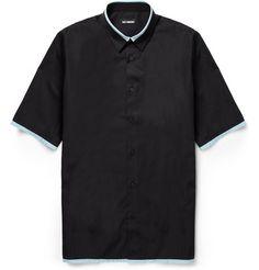 Raf Simons Contrast-Collar Short-Sleeved Cotton Shirt