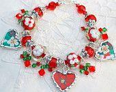 Broken China Jewelry, China Heart Bracelet, Lampwork Beads, Holiday China China, Sterling Silver Clasp