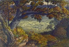 Samuel Palmer, The Weald of Kent, 1833–1834, watercolor and gouache on heavy, rough, cream wove paper, Yale Center for British Art, Paul Mellon Collection