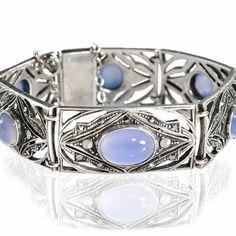 Sterling Silver Art Deco Bracelet Blue Chalcedony by boylerpf