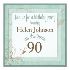 Birthday Party Invitation For 90 Year Old