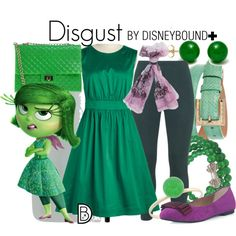 Disgust + by leslieakay on Polyvore featuring Emily and Fin, Peter Luft, JustFab, Design Inverso, Pearlz Ocean, Pori, Dolce&Gabbana, Valentino, disney and disneybound
