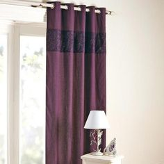 Aubergine Eliza Sparkle Thermal Eyelet Curtains | Dunelm