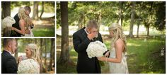 greenville sc wedding photographers, rustic wedding ideas , wedding day hairstyle, half up wedding hairstyle for bride, black groomsmen suits with black tie and white boutonniere, bride and groom first look before ceremony, bride and groom seeing each other before ceremony, white rose bouquet