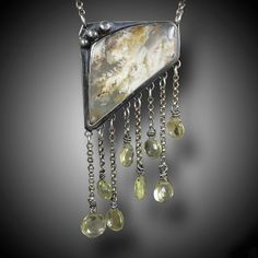 Grave Yard Plume Agate Necklace Sterling Silver and Lemon Topaz