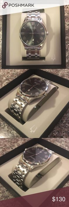 Bulova Men's Watch Metal-Stainless Steel Analog-quartz Movement Water resistant up to 30 meters Gunmetal dial, three hand calendar, and flat miners glass Bulova Accessories Watches
