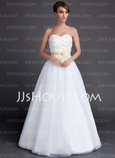 A-Line/Princess Sweetheart Floor-Length Taffeta Organza Wedding Dress With Sashes Flower(s) (002015901) - JJsHouse