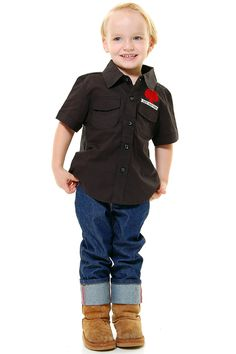 Black Johnny Cash High Performance Button Up Shirt - 2T-5T