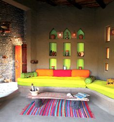 The 'lakshman sagar resort' designed by new dehli-based studio sahil & sarthak -rajasthani village in raipur, india Interior Design Magazine, India Home Decor, Mud House, Indian Interiors, Indian Living Rooms, Ethnic Living Room, Ethnic Decor, Ideas Hogar, Indian Homes