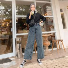 Casual Hijab Outfit, Ootd Hijab, Casual Outfits, Taehyung Fanart, Bridal Lehenga, Fashion Inspiration, Normcore, Steel, Pretty