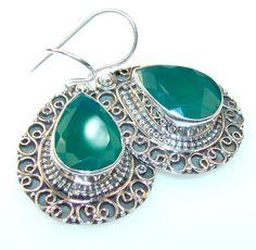 $47.25 Make Memories Emerald Sterling Silver earrings at www.SilverRushStyle.com #earrings #handmade #jewelry #silver #emerald