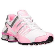 Women's Nike Shox Current Running Shoes| FinishLine.com | White/Pink Glow/Metallic Silver I love these!!!