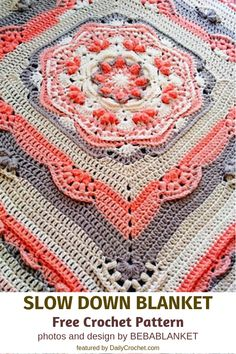 Relaxing Blanket Free Crochet Pattern Relaxing Blanket Free Crochet Pattern consisting of some complex stitches within the center to create a textured flower pattern. As you move along the pop and cluster stitches create the outer layers of your blanket. Crochet Squares Afghan, Crochet Square Patterns, Crochet Blanket Patterns, Baby Blanket Crochet, Knitting Patterns, Crochet Blankets, Free Crochet Square, Baby Blankets, Double Crochet