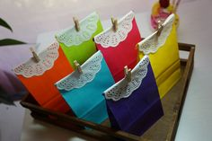 24 Extra Small Coloured Paper Bags Rainbow Mix  by ellejae66