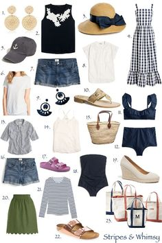 Travel Light: Summer Holidays A Classic and Practical Summer Wardrobe Preppy Wardrobe, Summer Wardrobe, Capsule Wardrobe, Travel Wardrobe, Travel Outfit Summer, Summer Outfits, Beach Outfits, Emo Outfits, Summer Travel