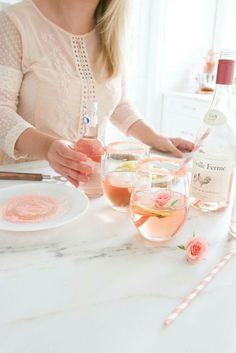 La Vieille Ferme Rosé cocktail - fuzzy lemonade, Rosé wine ice and Leon for garnish! Rosé all day!