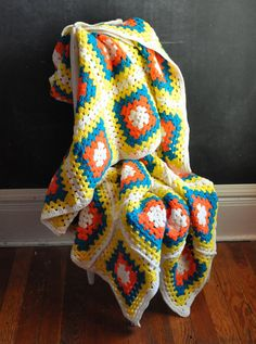 Vintage Crocheted Throw Afghan Blanket Big Bright by drowsySwords, $75.00