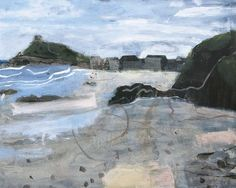 Very Early Morning on Porthmeor Beach, St Ives by Elaine Pamphilon   Mixed media on canvas   80 x 100 cm #elainepamphilon #tannerandlawson #cornwall