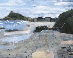 Very Early Morning on Porthmeor Beach, St Ives by Elaine Pamphilon | Mixed media on canvas | 80 x 100 cm #elainepamphilon #tannerandlawson #cornwall