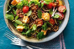 This salad packed with lentils, herbs and crispy haloumi is perfect for lunch, as a light dinner or a side to a barbecue.