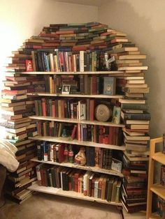 """Previous Pinner wrote: """"Given the amount of books I have, I may just have to start doing this sooner rather than later - using my books as a shelf frame for the other book, brilliant!""""  But what if you want to read one of the books not on the shelves or top?  I need easy access to my books."""