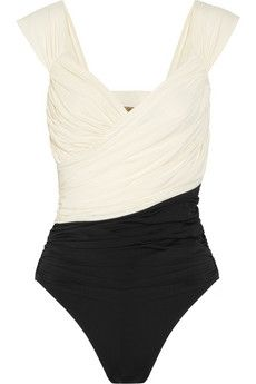 Clube Bossa | Couture two-tone ruched swimsuit | NET-A-PORTER.COM - StyleSays