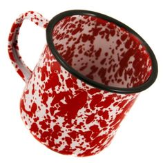 Crow Canyon Enamelware Cups and Plates, Pattern: Red Marble, Tableware Type: Mug
