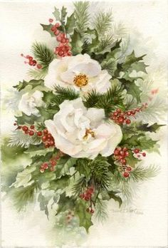 Christmas Roses ~ A stunning Floral Watercolor by Susie Short