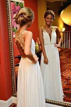671be135d9 New Arrival Gold Lace Ivory Backless Long Open Back Deep V Neck Cheap  Wedding Dresses uk PM996