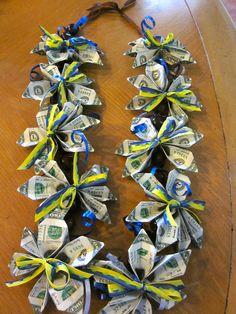 Graduation/Honeymoon/Babyshower Money lei all in two dollar bills How cool is that? Money Lei, Money Origami, Money Cake, Dollar Origami, Party Gifts, Diy Gifts, Money Flowers, Graduation Leis, Arts And Crafts