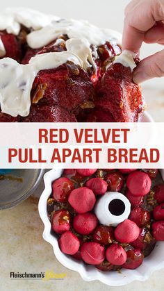 This recipe for Red Velvet Pull-Apart Bread from @tasteandtell makes for a beautiful addition to any Valentine's Day breakfast. This sticky pecan glaze adds a delicious crunch and texture, while the cream cheese frosting adds a sweetness everyone will love.