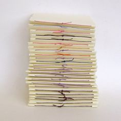 Manilla folders with large sheets of paper sewn in with colorful thread...great inexpensive notebooks