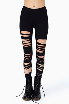 Nasty Gal leggings to tear it up. Take these shredded leggings from Nasty Gal out to a show with some combat boots and fear not – the back is not ripped, so it is still like you're wearing pants. Ripped Leggings, How To Wear Leggings, Tight Leggings, Leggings Are Not Pants, Black Leggings, Mesh Panel Leggings, Boyfriend Pants, Hipster, Soft Grunge