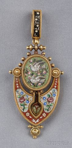 ntique Micromosaic Pendant/Brooch, depicting doves and various floral motifs within ropework frames, 14kt gold mount, suspended from a removable 18kt gold bail, lg. 2 5/8 in.