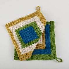 Cool Graphic Dishcloths - made with Kitchen Cotton, a new LionBrand yarn