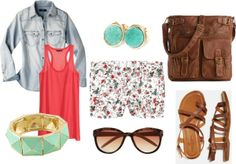 What I'd Like to Wear Wednesday: Summer Fun, Mint, Coral, Shorts, Floral, Casual