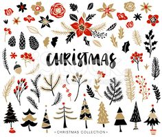 Christmas set of plants with flowers and christmas trees. royalty-free stock…