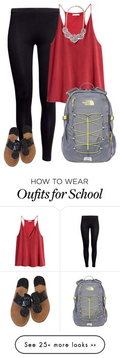 """School"" by btravis5252 on Polyvore featuring H&M, The North Face, Jack Rogers and Forever 21"