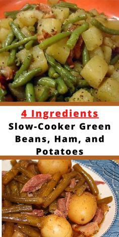 Pork Recipes, Slow Cooker Recipes, Crockpot Recipes, Cooking Recipes, Easy Recipes, Ham And Green Beans, Green Beans And Potatoes, Great Dinner Recipes, Dinner Ideas