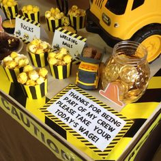 DIY Construction Birthday Party. Chocolate coins wage. Popcorn Wrecking Balls. Dump truck