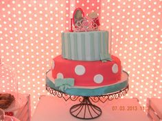 Cake at a Olivia the pig party #Olivia #pigpartycake