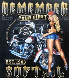 Biker T Shirt First Soft Tail Motorcycle Pin Up Girl Mens Sizes Small to Harley Davidson Posters, Harley Davidson Wallpaper, Motorcycle Art, Bike Art, Harley Dealer, Rockabilly, Lowrider Art, Man Cave Art, Garage Art
