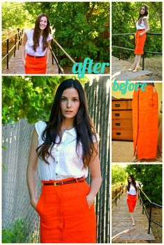 C: Refashion clothing refashion ideas- take in the side seams, chop some length off the bottom, skirt into t-shirt, etc.