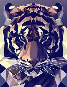 New sport illustration vector Ideas Polygon Art, Tiger Art, Arte Pop, Geometric Art, Geometric Animal, Animal Design, Art Music, Vector Art, Tiger Vector