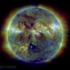 Gorgeous image of the sun via Discovery.com: By snapping the Sun in several wavelengths with SOHO, scientists were able to produce this colorful temperature map.    In red is gas 3.6 million degrees Fahrenheit, green is gas 2.7 million degrees Fahrenheit, and blue is gas 1.8 million degrees Fahrenheit.