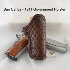 1911 Leather Holster, 1911 Holster, Custom Leather Holsters, Gun Holster, Cross Draw Holster, Cowboy Hat Styles, Western Holsters, Leather Accessories, Leather Working