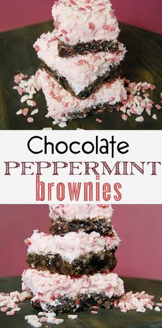 www.creativemeinspiredyou.com Peppermint brownies with a dark chocolate richness and a mint aftertaste are a decadent dessert! Chocolate, peppermint, brownie, iced, frosted, holiday, christmas, pot luck. dessert, treat, office recipe, delicious, pink, peppermint crunch