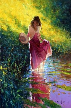 Pintura. The light flowing through the woman's skirt and surrounding her is amazing. I can actually feel the coolness of the water and the peacefulness there.